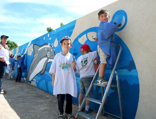 Fresque participative à l'école maternelle du Moulin Vieux, La Londe les Maures, Var