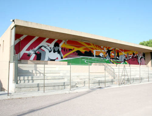 Fresque participative, Var, PACA, sur la tribune du stade du Beausset