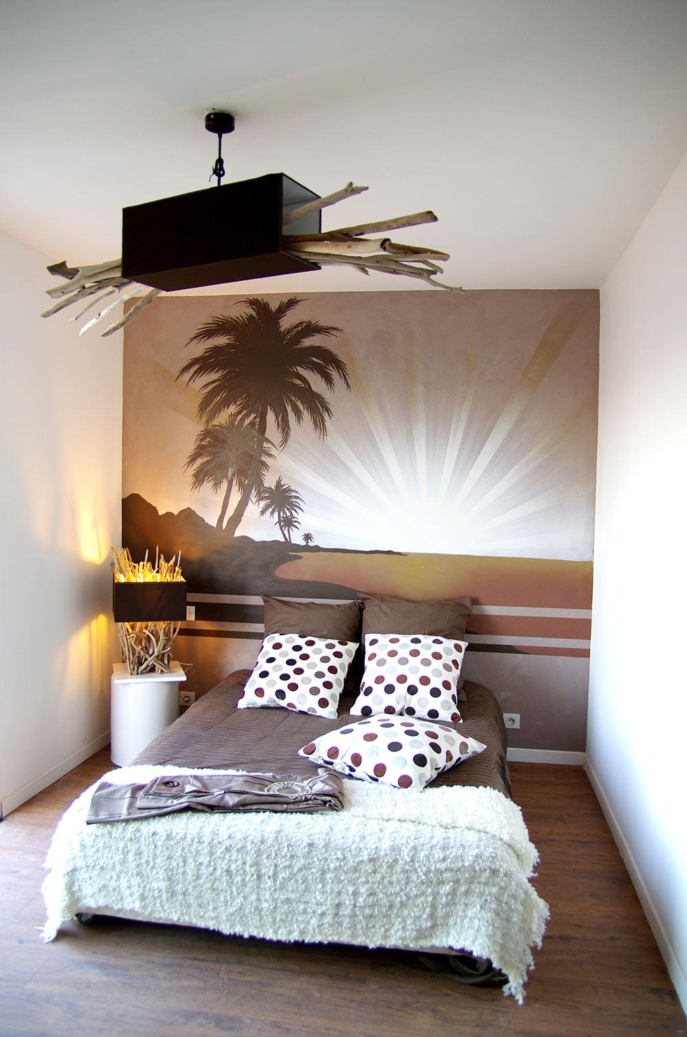Fresque murale Toulon Chambre Palmier coucher soleil