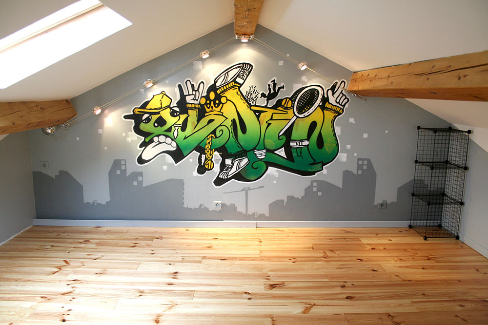 Graffiti street Art fresque chambre Toulon