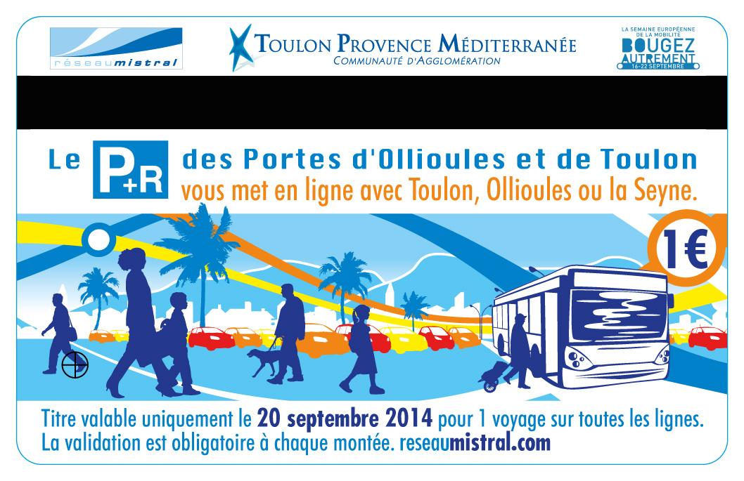 Création de visuel & déclinaison sur ticket de transport Toulon