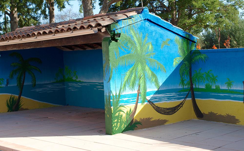 Fresque terrasse piscine palmier Hyères