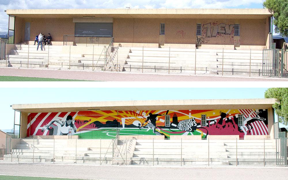 Fresque tribune stade