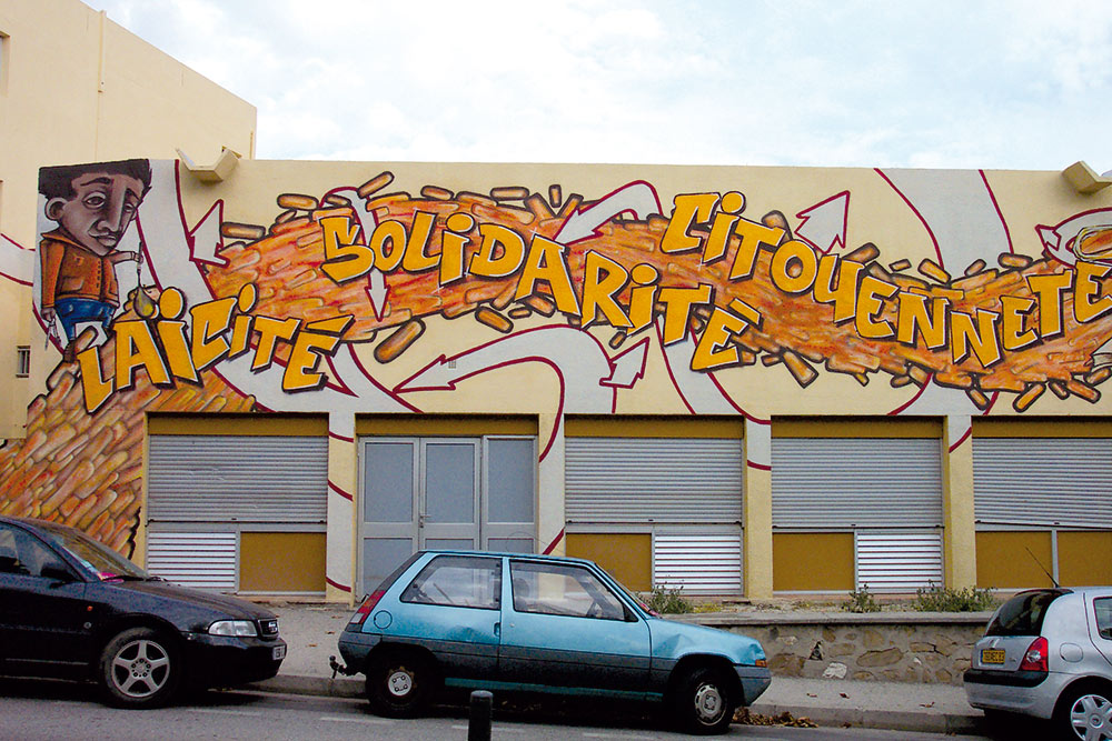 Fresque street art façade FOL du Var Toulon