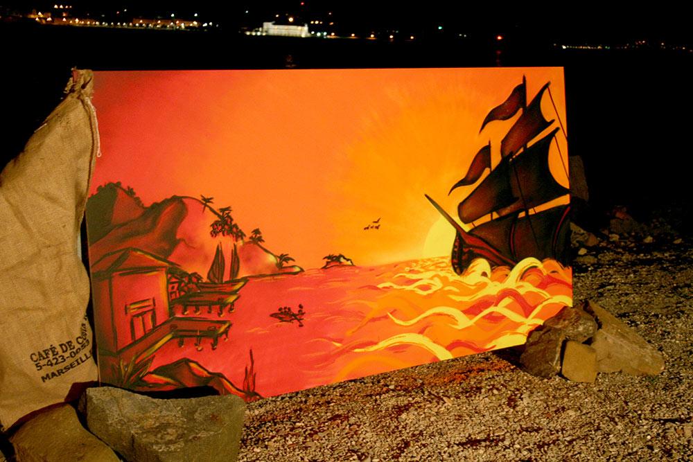 Fresque live soirée pirates Var 83